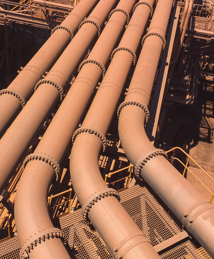 Lined pipe spools in iron ore processing plant