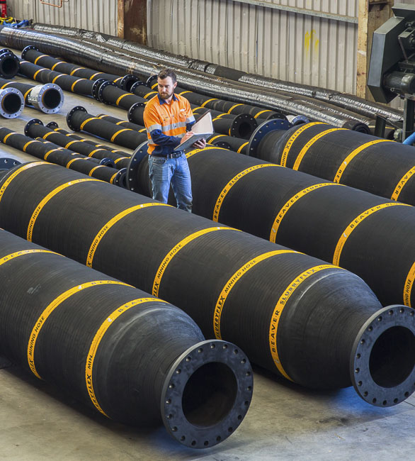 Large rubber dredge hoses for suction and discharge in our factory