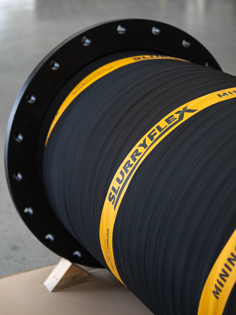 A hand made rubber mining hose