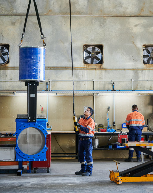 A large valve being lifted in our Australian valve distributor workshop